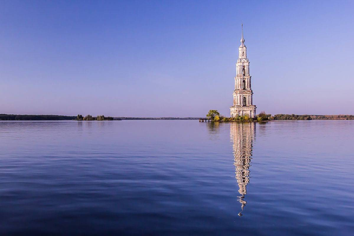 The flooded bell tower in Kalyazin