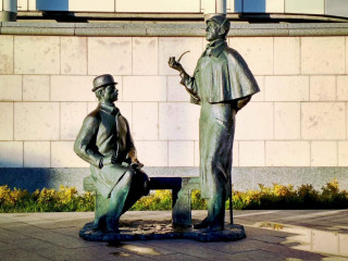 Monument to Sherlock Holmes and Dr. Watson in Moscow